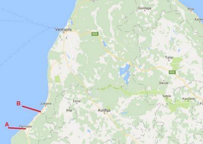 Pāvilosta - Labrags: ieskats kartē